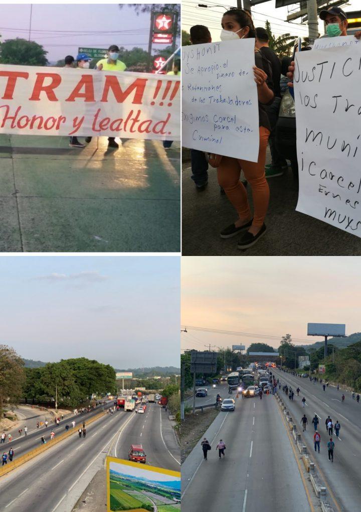 Sindicalistas de ASTRAM cierran diversos puntos de acceso a San Salvador