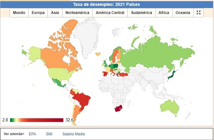 España, Italia y Brasil lideran la lista de países con mayor tasa de desempleo