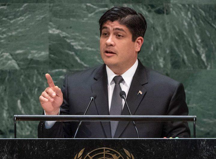 Presidente de Costa Rica exhorta a invertir en paz