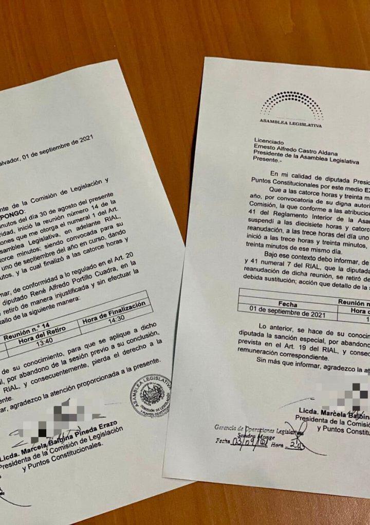 Diputada de Nuevas Ideas pide se les descuente salario a Portillo Cuadra y Dina Argueta por abandono se sesión